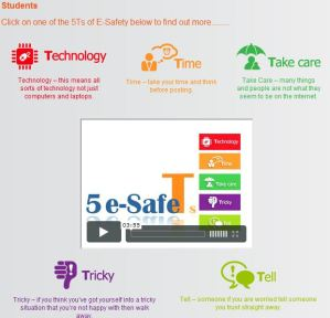Image of screen shot of page with the 5Ts of esafety.